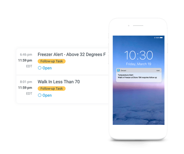 Mobile alerts for Zenput Temp Monitoring